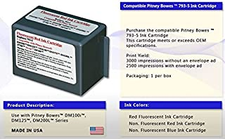 Pitney Bowes Compatible 793-5 Red Ink Cartridge for DM Series, Send Pro C Series: P700, DM100, DM100i, DM125i, DM150i, DM175i, DM200L, DM225, Send Pro C200,C300,C400, Send Pro 300