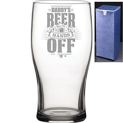 Novelty Gift pinta Tulip vaso de cerveza de sidra | Daddys cerveza Hands Off Engraved