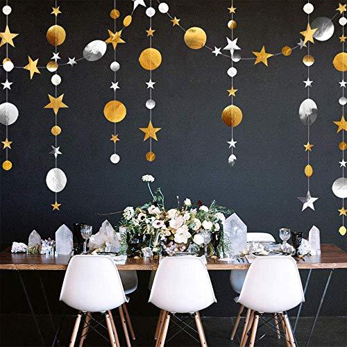 Sterne Runde Girlande, Stern Kreis Punkte Banner, 4x4M Glitter Sterne Kreis Bunting Papier Hängen Dekoration für Kinder Geburtstagsfeier, Babyparty, Hochzeit (Gold + Silber)