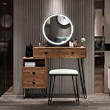 Table Set Makeup Vanity Dressing Table with 3 Colors Lighted Mirror, 1 Storage Cabinet & 2 Drawers, Dressing Makeup Table with Cushioned Stool, for Girl, Women, Dresser Desk for Bedroom, Brown