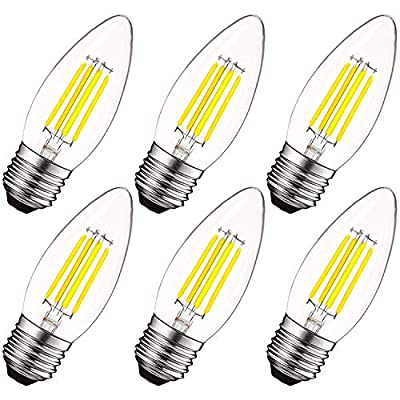 Luxrite 5W Vintage E26 Candelabra LED Bulb 60W Equivalent, 550 Lumens, 5000K Bright White Dimmable, Medium Base Candelabra Bulb, Torpedo Tip Clear Glass, Edison Filament Light Bulb, UL Listed (6 Pack)