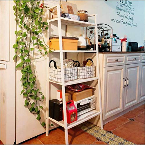 Ladder Shelf,White Bookshelf 4 Tier Small Bookshelf,Ladder Shelf Bookcase,Tall Bookshelf,Leaning Bookshelf,Skinny Bookshelf, Bookshelf for Bedroom,Modern Bookshelf(Bookshelf White)