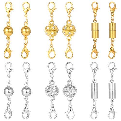 SUSSURRO 12 cierres magnéticos para joyas, cierres de mosquetón para manualidades, pulseras, collares, joyas, manualidades, estilo de bola de estrás, cilíndricos y bolas de tono plateado y dorado