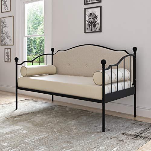 DG Casa Thompson Metal Button Tufted Upholstered Platform Daybed Bed Frame, Twin Size in Black & Beige, Black/Beige