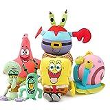 XIAOMOLAO 6 Pces Spongebob Squarepants Set Peluche 20-25Cm, Pastel Big Star Octopus Brother Doll Small Doll Colgante Ragdoll Child Gift
