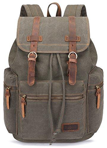 BLUBOON Canvas Vintage Backpack Leather Casual Bookbag Men Rucksack (Green)