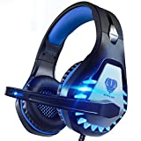 Pacrate Gaming Headset für PC, PS4, PS5, Xbox One, Xbox Series X, 3.5mm Noise Cancelling Gaming Kopfhörer mit Mikrofon, LED Leuchten und Soft Memory Ohrenschützer(Black Blue)