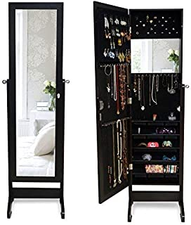 SQUARE FURNITURE Mirror Jewelry Cabinet Hanging Storage Armoire & Wall Mount (Black)
