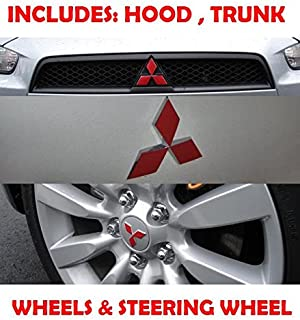 2007 2008 2009 2010 2011 Mitsubishi Lancer Hood Trunk Steering Wheel Overlay Decal Sticker - Change Color of Your Emblems!