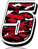 Biomar Labs® 1 x Vinilo Adhesivo Camuflaje Militar Rojo Pegatina Número 5 Camouflage Sticker para Coche Auto Motocross Motosport Start Sport Racing Rally Tuning N 225