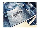 LushFabric Denim Jeans Effetto Tessuto per Tende, arredo - Blu Denim Patchwork Cotone Materiale - Jeans Stampa Denim Tela - Blue, Sample 10CM X 10CM