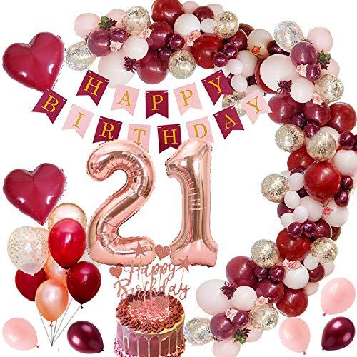 MMTX 21 Globos Cumpleaños Decoraciones de Borgoña con Globos de Aluminio Globos de Confeti de Oro Rosa Rojo Vino Torta de Banner para Niña Mujer Cumpleaños Aniversario Recuerdos de Fiesta