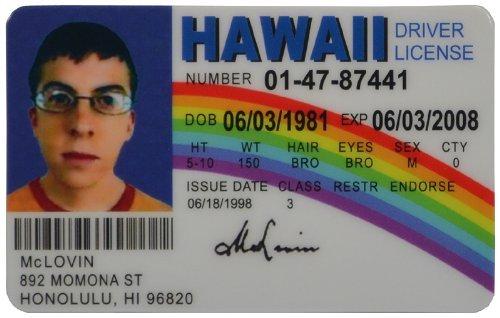 Auto Car Parts Online McLovin Fun Fake ID License