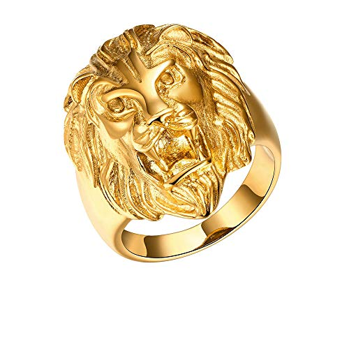 ENYU Anillo de Hombre, Anillo de Cabeza de león Compromiso de Acero Inoxidable Joyas chapadas en Oro para captar los Ojos de la Gente en el Club, Fiesta, Trabajo, Exterior, Interior, etc.