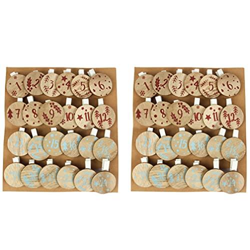 STOBOK 2 Sets Weihnachten Holz Clips Kalender Wäscheklammern DIY Foto Pegs Hängen Clips für Party Favors Home Schule Kunst Handwerk Decor