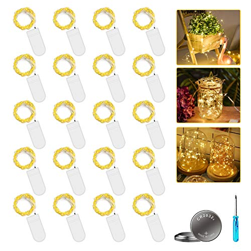 [20 Stück] Molbory Micro LED Lichterkette mit Batterie, 2M 20 LEDs Wasserdicht Lichterketten für Party, Garden, Weihnachten, Halloween, Hochzeit, Beleuchtung Deko, Flasche DIY (Warmweiß)