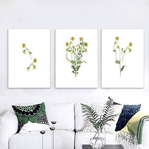 Margarita amarilla Flor Arte de la pared Pintura de la lona Arte de la granja Cartel nórdico e impresión Cuadro de la pared de la acuarela para la decoración de la sala de estar 40x60cmx3 Sin marco