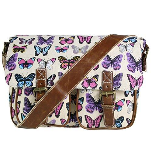 Miss Lulu-Schultertasche, Leinwand, Motiv: Eule, Schmetterling, Elefant, Pferd und Cupcake , - Butterfly Beige (Canvas) - Größe: M