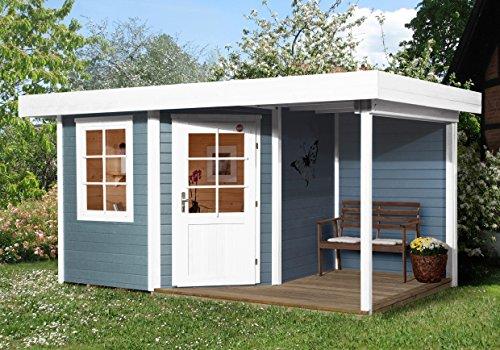 Kleines Gartenhaus mit Fußboden und mit überdachter Außenterrasse - Innenmaß 238 x 238cm - Außenmaß laut Verkäufer 442 x 278cm - Eine Tür - Flachdach - Dreh/Kippfenster