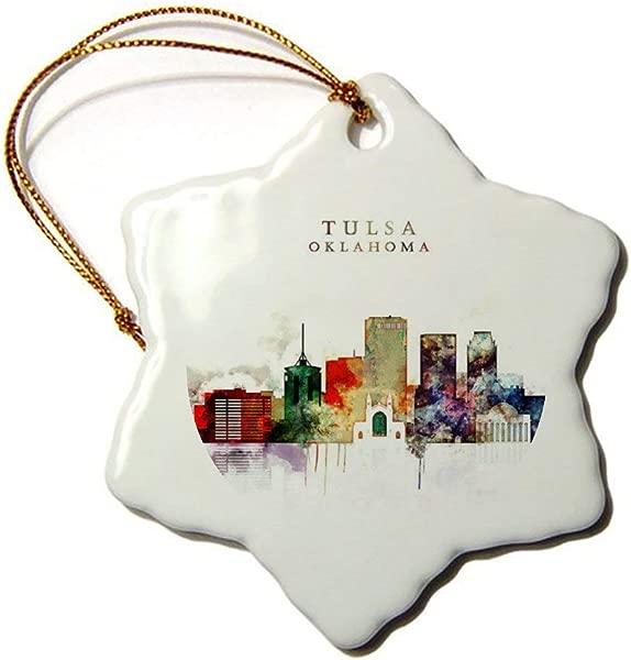 Fhdang Decor Tulsa Oklahoma Souvenirs Snowflake Porcelain Christmas Ornament Double Sided Ceramic Ornament 3 Inch