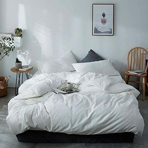 DONEUS White Duvet Cover Queen 100 Washed Cotton 3 Pieces Solid Color Pattern Bedding Set 1 product image