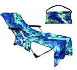 Beach Chair Cover with Side Pockets,Microfiber Chaise Lounge...