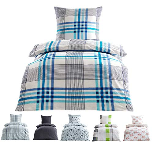 Seersucker Bettwäsche Baumwolle bügelfrei mit Reißverschluss in 2 Größen 135x200 cm 80x80 cm Mia Weiss
