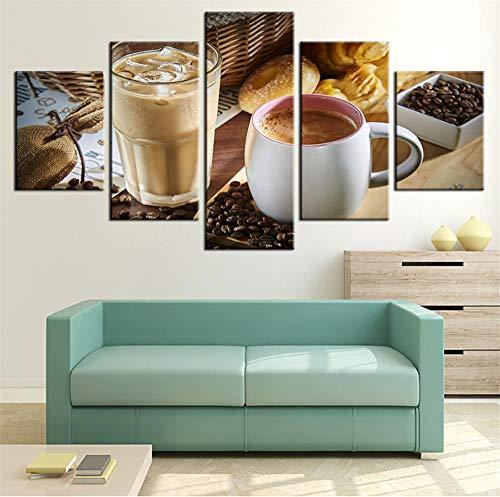 GTomorrow Leinwand Bilder 150X80Cm (B) Restaurant-Dämpfende Kaffeetasse-Kaffeebohne Fertig Aufgespannt,Vlies Leinwand, 5 Teilig,Wand Bild, Kunstdrucke, Wandbild