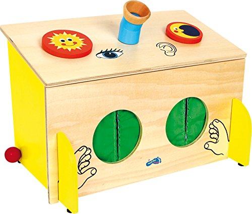 small foot 6989 Fühl-Box aus Holz, Sinnesspiel schult spielerisch den Tast- Hör- und Sehsinn, ab 3 Jahren