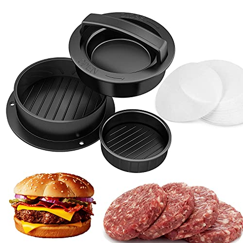 Amy Non Stick Burger Press with 50 Wax Papers, Hamburger Press Patty Maker, Different Size Patty Molds, Easy to Use,Works Best for Stuffed Burgers, Sliders, Essential Kitchen & Grilling Accessories