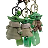 Llavero Yoda, Hilloly 3pcs Llavero de Goma, Llavero de Dibujos Animados Llavero Creativo Llave Decoración Bolsa Colgante Llavero de Coche Baby Yoda Llavero Modelo de Decoración