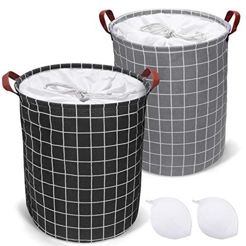 Emooqi Cesto Ropa Sucia, 2 Piezas Cestos para la Colada Plegables Impermeables de Algodón, Cestos de Lavandería con Asas y Cordón para Ropa Juguetes, 45 x 35 cm, 43L (Negro)