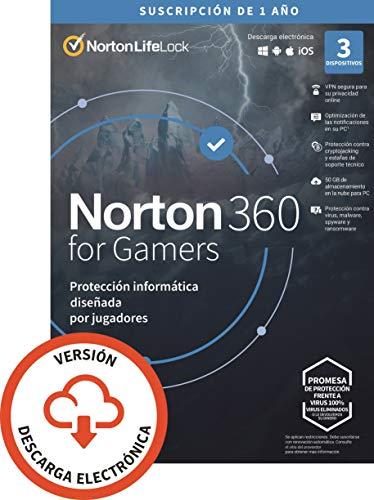 Norton 360 for Gamers 2021 | Antivirus software para 3 Dispositivos | 1 año, PC/Mac/tablet/smartphone | Código de activación enviado por email