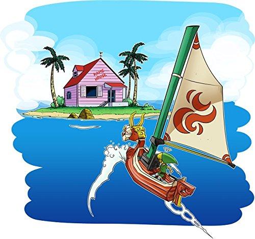 Okiwoki T-Shirt Noir Dragon Ball Z - Zelda parodique La Kame House et Link : Une île Perdue. (Parodie Dragon Ball Z - Zelda)