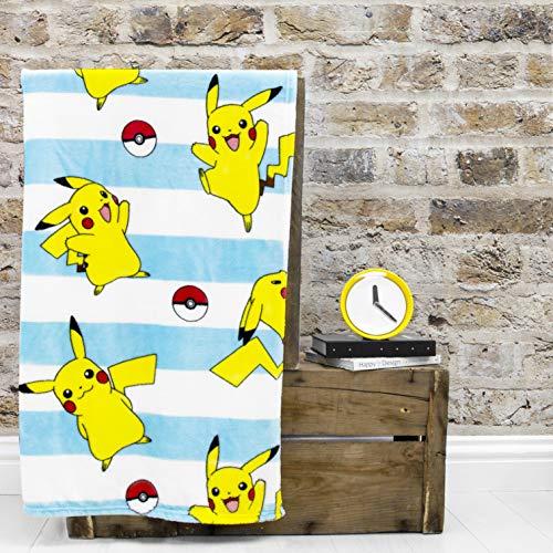 Pokemon Offizieller Jump-Fleece-Überwurf | Pikachu blau & weiß gestreiftes Design super weiche Decke | perfekt für jedes Schlafzimmer, blau