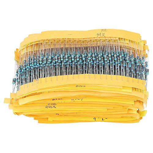 2000 Unids 1 / 4W resistores, 100 valores 1ohm ~ 1M Resistencias de película metálica Conjunto de componentes de surtido