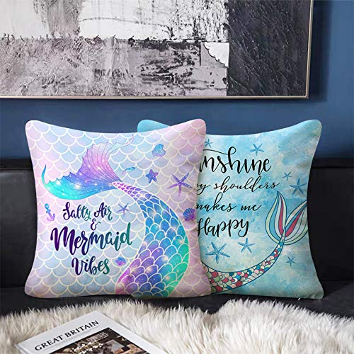 Bonsai Tree Mermaid Pillow Covers, Mermaid Tail Scales Pillow Cases 18x18 Inches, Beach Theme Decorative Linen Throw Pillow Covers Summer Home Decor Gifts for Women Sofa Couch Bed Set of 2