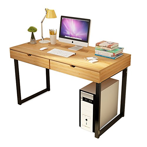 Hyner Wooden Computer Desk Workstation Laptop Writing Desk with 2 Drawers Metal Legs Home Office