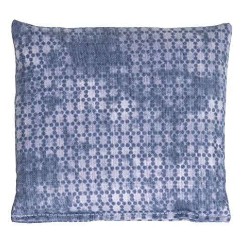 Saco térmico 12x12cm. Used look gris azulado. Almohadilla térmica utilizable frío o caliente. Pequeño cojín de semillas. Huesos de cerezas