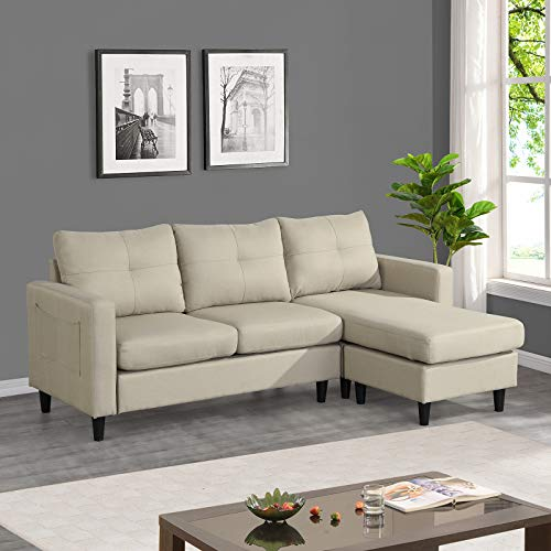 Sectional Couch Modular Sectionals Sofas for Living Room, L Shaped Couch, Small Sectional Sofa Couch with Chaise Under $500, Convertible Ottoman, Side Pockets, Tufted, Linen (3 seat Beige)
