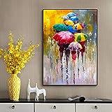 ganlanshu Retrato Abstracto Pintura al óleo Impresa en Lienzo Pintura al óleo niña sosteniendo un Paraguas decoración de Arte de Pared,Pintura sin Marco,45x67cm