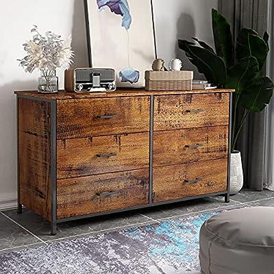 6 Drawer Double Dresser, Industrial Wood Storage Dresser Clothes Organizer, Sturdy Steel Frame, Storage Dresser for Bedroom