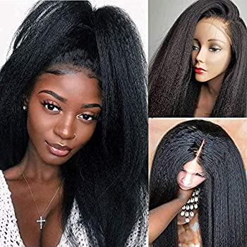 Mydiva Yaki Straight Human Hair Lace Front Wig for Black Women Glueless Lace Wigs Human Hair Yaki Kinky Straight with Baby Hair Brazilian Virgin Hair 150 Density  20 inch 13x4 lace front wig