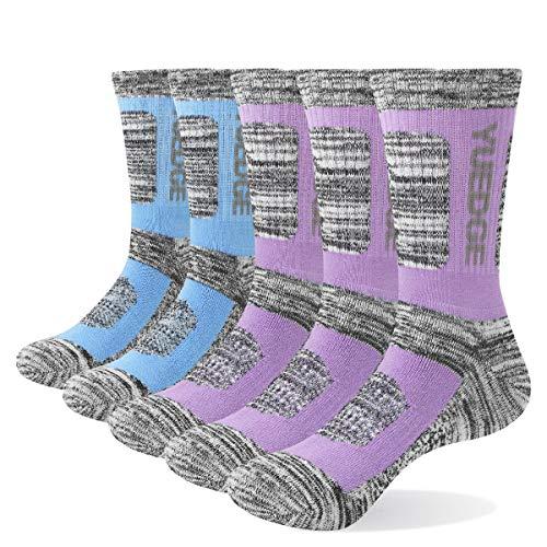 YUEDGE 5 Pares Mujer Calcetines de Senderismo para Trekking Camping Ciclismo Tenis y Otros Deportes, Transpirable, Alto Rendimiento (L)
