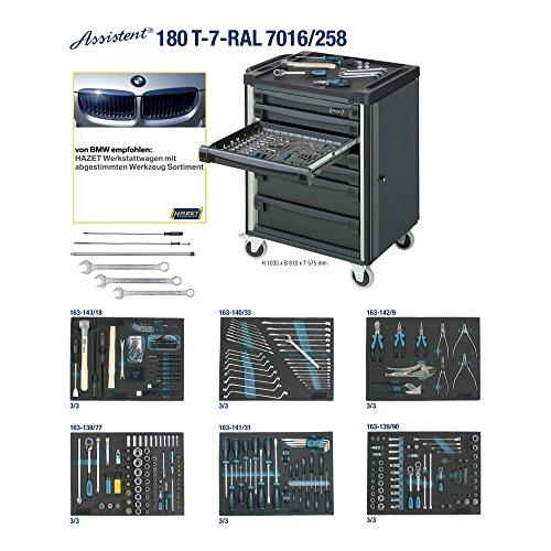 Hazet 180T-7-RAL7016/258 Werkstattwagen Assistent mit Sortiment, Anzahl Werkzeuge: 258, 1035 x 810 mm