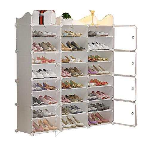 Zapatero Baffle Shoe Rack 3 Columnas 8 Niveles De Plástico Estantería De Plástico con 48 Pares De Almacenamiento Dormitorio Sala De Estar Blanco 126x32x138cm MUMUJIN