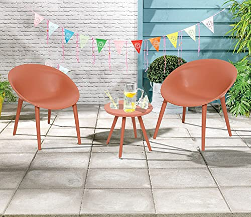 Dawsons Living Moon Bistro Set - Outdoor Plastic Garden Patio and Decking Set - 2 Chairs and Table (Terracotta)