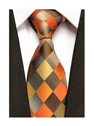 Men Yellow Orange Grey Plaid Silk Ties Checks Fashionable Colorfu Autumn Necktie Diamond Patterned Silk Tie