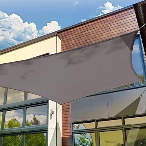 Patio Shack Sonnensegel 4x4 Meter Rechteckig Wasserdicht, UV Schutz Polyester Wasserabweisend Sonnenschutz für Garten Balkon und Terrasse, Grau(4x4m)