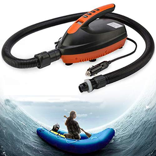KINGDUO 12V LED Pantalla al Aire Libre Deportes Sup vehículo Inflable Bomba Paddle Board Bote neumático Kayaking Bomba de Aire con 6 unids Air Tap